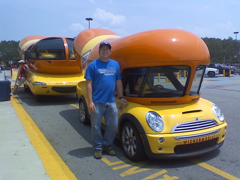 Greg with a mini weiner.